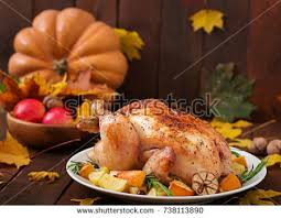 turkey pumpkins autumn table setting pumpkins thanksgiving dinner stock photo