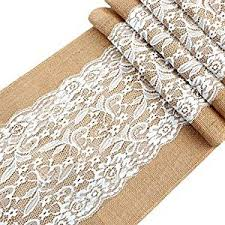 natural burlap table runner amazon com ourwarm vintage lace hessian burlap table runner 12 x 42
