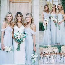 amsale bridesmaid amsale 2017 gorgeous draped sky blue shoulder boho