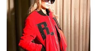 paris hilton in richard valentine bomber manley luxury fashion