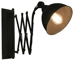 black vintage finish antique style pull out extendable wall light