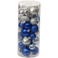 time ornaments traditional mini set of 40 blue