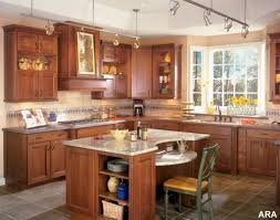 kitchen dazzling kitchen decorating ideas in red color also two kitchen gorgeous brown wooden cabinets match single seat also sunflower ornaments for kitchen decorating ideas