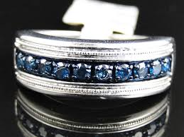 engagement bands rings images Mens white gold finish blue diamond pave 8 mm wedding engagement jpg