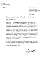 modele lettre de motivation femme de chambre lettre de motivation cap services hôteliers modèle de lettre