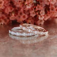 scalloped engagement ring matching scalloped wedding ring vintage inspired