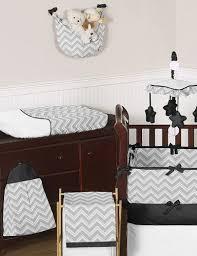 Unisex Crib Bedding Sets Sweet Jojo Designs Bedding Sets Gray And Black Chevron Zig Zag