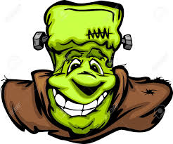 happy halloween vector cartoon image of a happy halloween monster frankenstein head