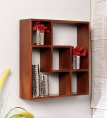 wall shelves pepperfry buy boxy wall shelf in brown finish by home sparkle online modern