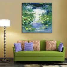 pond oil paintings promotion shop for promotional pond oil mini size free shipping hand painted oil painting abstract pond 3 decoration painting one pcs home decor modern wall prints