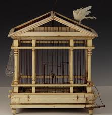 antique wood bird cage with shabby chic cream painted finish ebth