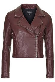 clean polyurethane topshop burgundy textured faux leather biker jacket with zip