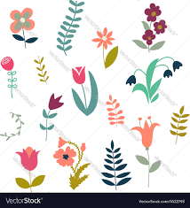 set of simple cute plants and flowers royalty free vector