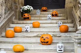 pumpkin decoration pumpkin decoration on stairs stock image image of