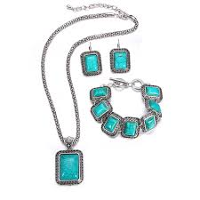 turquoise necklace set images Bohemian vintage silver stone imitation new jewelry jewellery set jpg