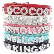 diy personalized pet collars bling rhinestone letters name pet