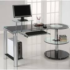 White Desk Glass Top Contemporary Glass Office Desk