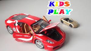 Porsche Boxster Model Car - f430 fiorano burago car vs porsche boxster tomica toy car