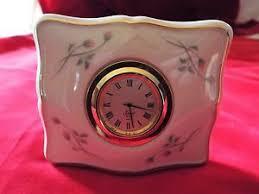 lenox small nightstand clock rose bud design green mark ebay