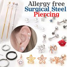 surgical steel earrings allergy allergy free piercing ear studs surgical steel titanium gold