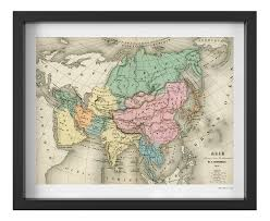Vintage Map Pastel Colors French Map Of Asia Vintage Map Print