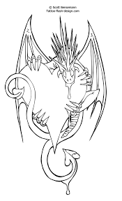 image detail free tattoo flash love heart dragon design free