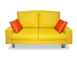 Yellow Sofa Bed Clean Yellow Sofa And Pillows Stock Image Image 10486793