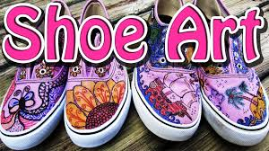 Shoe Home Decor by Diy Freestyle Art For Shoes Tutorial Zentangle Designs Youtube