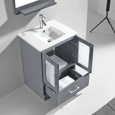 Zola Bathroom Furniture 24 Zola Single Bathroom Vanity In Grey With Top Integrated Sink