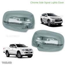 mitsubishi pickup 2016 l r chrome wing mirror cover with led fits mitsubishi montero