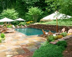 fascinating backyard pool design ideas along with maple wood