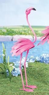 pink flamingo bird garden statue metal stake yard lawn ornament