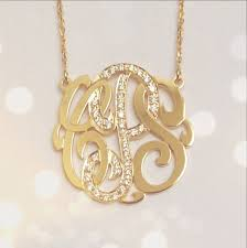 monogram necklace gold small 14k gold monogram necklace with diamond middle initial