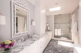 white and grey marble bathroom countertops transitional bathroom