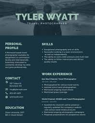 Exceptional Creative Resume Designs Tags Dark Blue Travel Photographer Creative Resume Templates By Canva