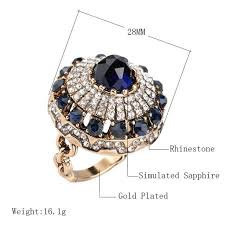 natural stone rings images Luxury big natural stone ring vintage crystal antique rings for jpg
