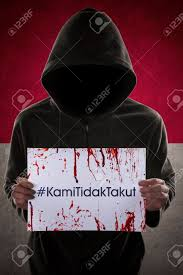 Anonymous Flag Anonymous Person Wearing Mask And Hoodie Holding Bloody Paper