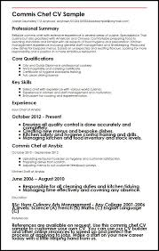 Resume Sample For Cook by Commis Chef Cv Sample Myperfectcv