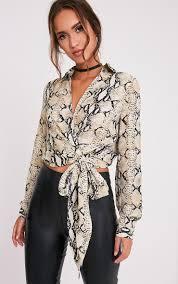 snake print blouse avalyn taupe snake print tie waist blouse image 1 wishlist