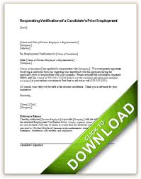 requesting verification of a candidate u0027s prior employment with