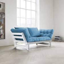 canape futon canapé futon capitonné convertible structure coloris blanc quito
