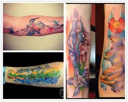 2014 top 8 mountain watercolor tattoo for girls from icover