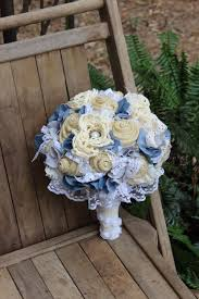 denim and lace rustic burlap bouquet with denim and lace bridal