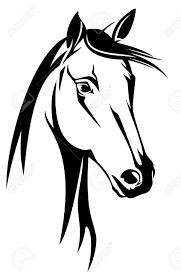 mustang horse drawing horse head black and white design royalty free cliparts vectors