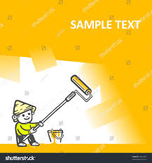 painting a wall illustration worker painting wall vector illustration stock vector