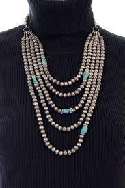 turquoise stones necklace images West coast cowgirl 5 strand bead necklace w turquoise stones jpg