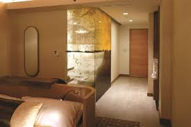 printed glass in bathroom and showers in a hotel in massachusetts