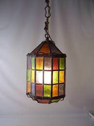 Glass Kitchen Light Fixtures Vintage Stained Glass Leaded Hanging Light L Chandelier Shade