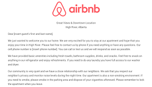 download the airbnb welcome letter template as airbnb hosts we