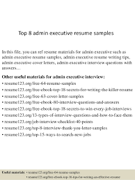 Admin Executive Resume Sample Top 8 Admin Executive Resume Samples 1 638 Jpg Cb U003d1429859946